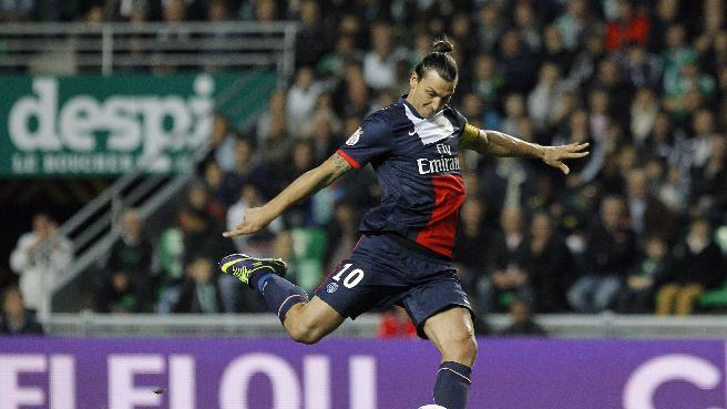 Paris Saint Germain's Zlatan Ibrahimovic kicks the ball during their French League One soccer match against Saint-Etienne, in Saint-Etienne, central France, Sunday, Oct. 27, 2013