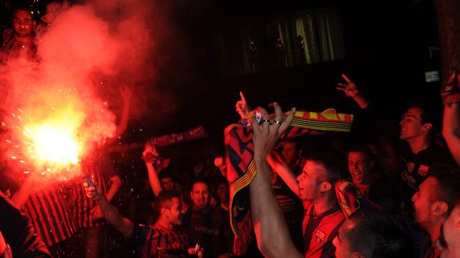 Barcelona's Supporters Celebrate Their Team's Victory Over Athletic Bilbao, At The Canaletas Fountain At Las Ramblas In AFP/Getty Images