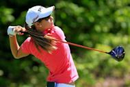 Azahara Munoz of Spain hits her tee shot on the first hole during the Sybase Match Play Championship at Hamilton Farm Golf Club in Gladstone, New Jersey. Munoz defeated Taiwan's Candie Kung 2 and 1 in Sunday's final to capture the $1.5 million LPGA Sybase Match-Play Championship and claim her first LPGA title