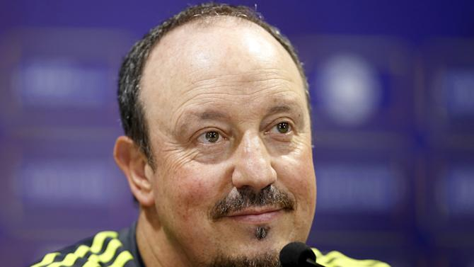 Real Madrid's coach Benitez attends a news conference ahead of a friendly match against A.C. Milan in Shanghai