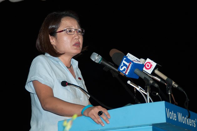 WP chairman Sylvia Lim takes aim at the AIM saga during her speech. (Yahoo! photo)