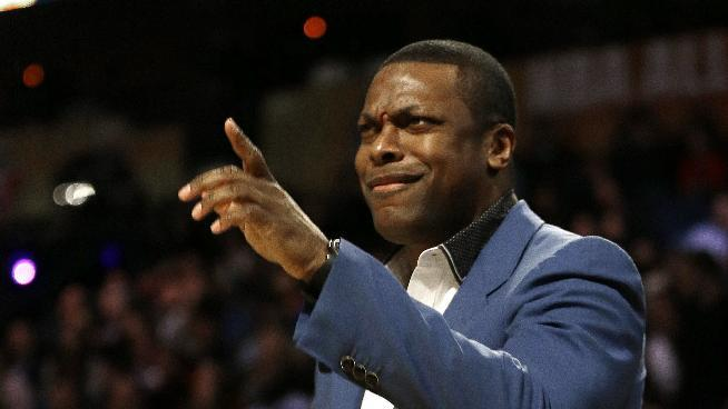 Actor Chris Tucker dances during the NBA All Star basketball game, Sunday, Feb. 16, 2014, in New Orleans