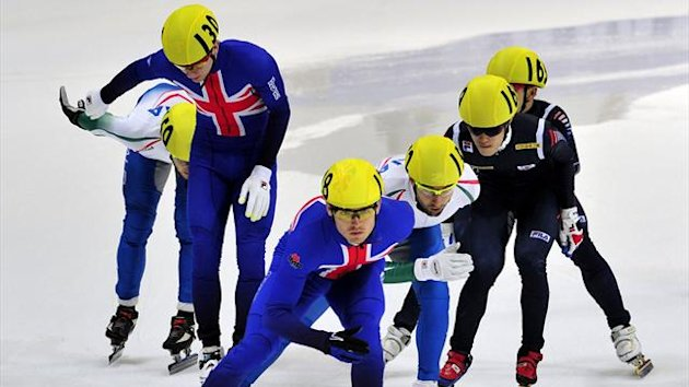Richard Shoebridge of Great Britain leads in the men's 5000m Relay semifinal at the World Cup Short Track (AFP)
