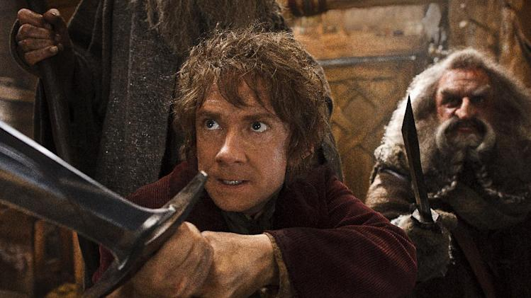 "This image released by Warner Bros. Pictures shows Martin Freeman, left, and John Callen in a scene from ""The Hobbit: The Desolation of Smaug."" (AP Photo/Warner Bros. Pictures, Mark Pokorny)"