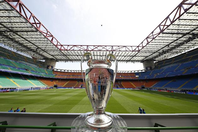 The Champions League Trophy ahead of the Final between Real Madrid v Atletico Madrid