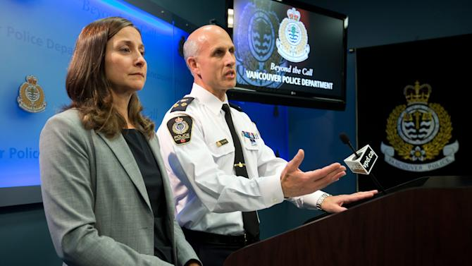 """Vancouver Police Acting Chief Doug LePard, right, and British Columbia Chief Coroner Lisa Lapointe announce the death of Canadian actor Corey Monteith during a news conference in Vancouver, B.C., late Saturday July 13, 2013. Vancouver police say Canadian born actor Montieth, star of the hit show """"Glee"""" has been found dead in city hotel. (AP Photo/The Canadian Press, Darryl Dyck)"""