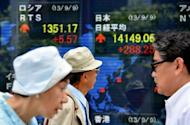 Pedestrians walk in front an electric quotation board flashing the Nikkei key index of the Tokyo Stock Exchange (TSE) on September 9, 2013. Japanese stocks jumped nearly three percent in opening trade on September 9 as investors cheered Tokyo winning its bid to host the 2020 Olympics, good news for construction, real estate and sportswear firms. AFP PHOTO / KAZUHIRO NOGI