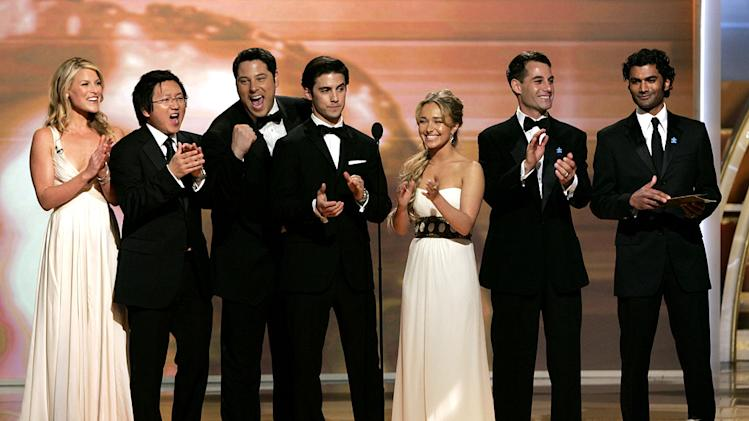 "The cast of ""Heroes"" at the 64th annual Golden Globe Awards."
