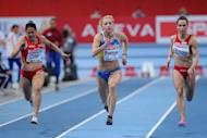 Bulgaria's Inna Eftimova (R), pictured competing with Ukraine's Mariya Ryemyen (C) and Spain's Amparo Maria Cotan at the European athletics indoor championships in 2011, has failed a dope test and will miss the London Olympics, media reports said