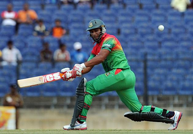 Bangladeshi cricketer Mahmudullah plays a shot during the opening one-day international (ODI) match between Sri Lanka and Bangladesh at The Suriyawewa Mahinda Rajapakse International Cricket Stadium i