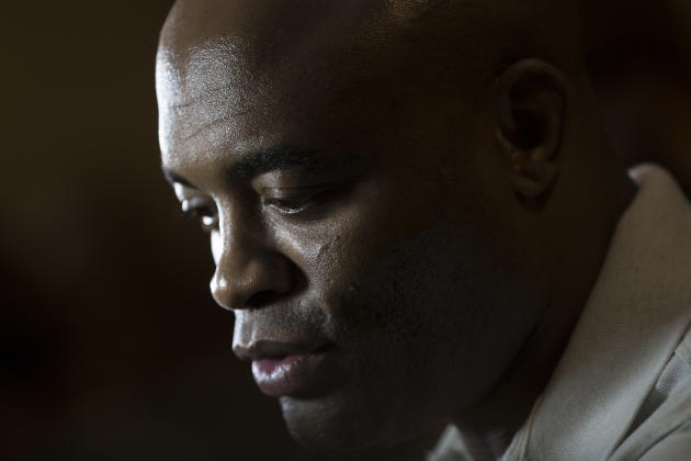 Mixed martial arts fighter Anderson Silva talks to journalists after a press conference in Rio de Janeiro, Brazil, Wednesday, April 22, 2015. Silva announced he will fight for a spot in the Brazilian
