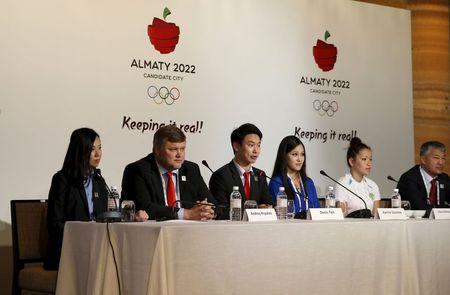 Kazakstan's bid team speak at a news conference about Almaty's bid for the 2022 Winter Olympic Games, in Kuala Lumpur