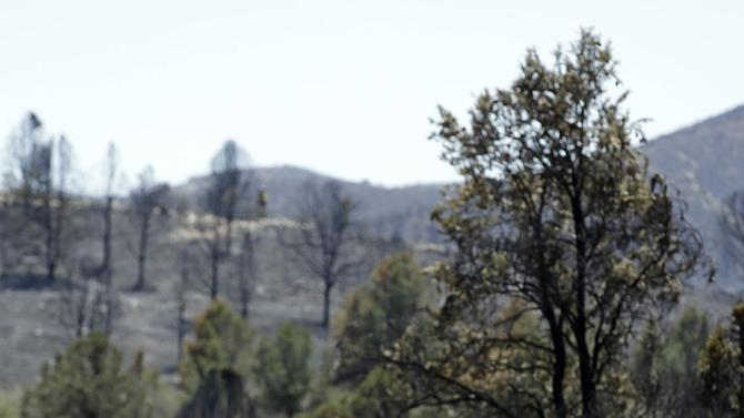 A firefighter walks along a dirt path while battling a wildfire near Yarnell, Ariz., Wednesday, July 3, 2013. More than 100 homes and structures have been burned in the wildfire that claimed the lives of 19 members of an elite firefighting crew. (AP Photo/Chris Carlson)