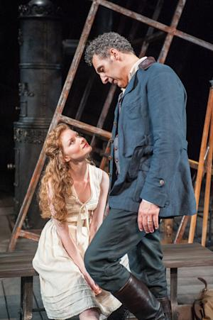 "This undated publicity image released by the Brooklyn Academy of Music shows Wrenn Schmidt, left, and John Turturro in a scene from Henrik Ibsen's ""The Master Builder,"" currently performing at the BAM Harvey Theater in  New York. (AP Photo/Brooklyn Academy of Music, Stephanie Berger)"