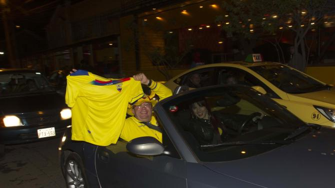 Supporters cheer after the Ecuador national soccer team qualifies for the 2014 World Cup which will be held in Brazil, in Quito