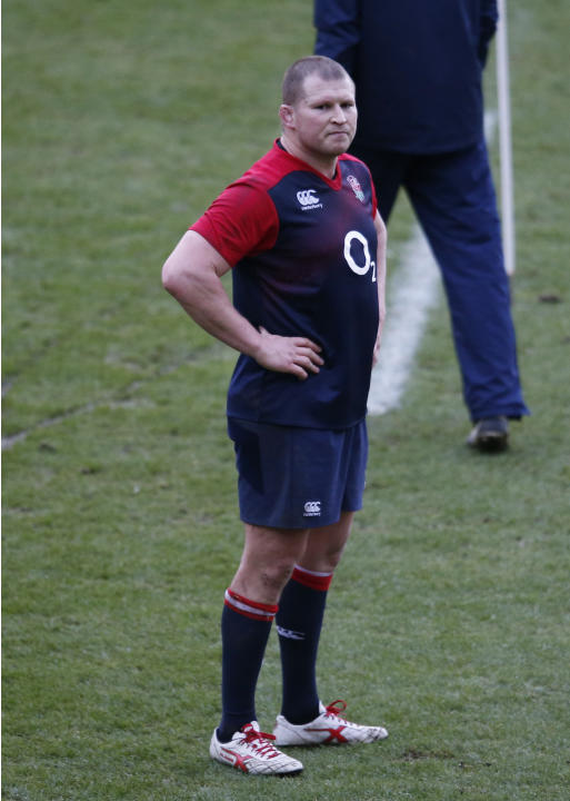 England's Dylan Hartley during training