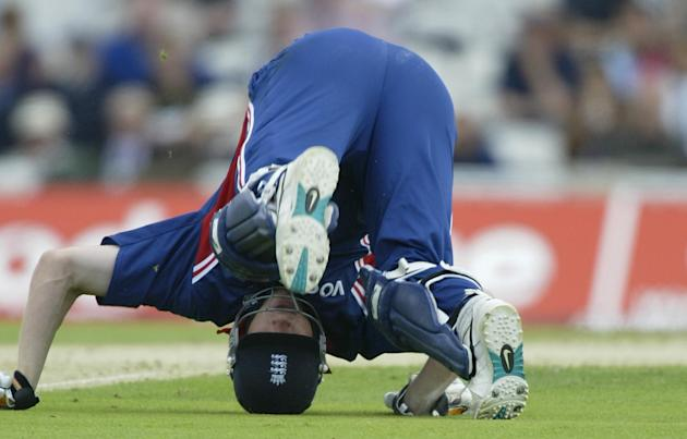 LONDON- JULY 9:  Andrew Flintoff of England takes a tumbles in an attempted run out during the match between England and India in the NatWest One Day Series at the AMP Oval in London, England on July
