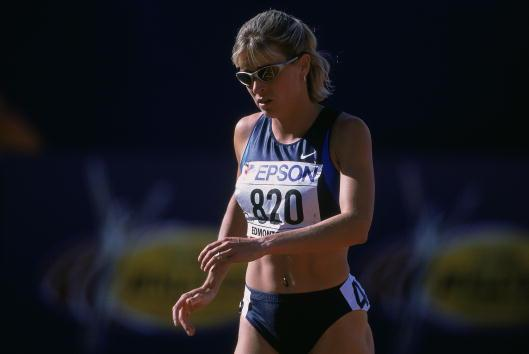 5 Aug 2001: Suzy Favor-Hamilton #820 of the United States cooling down during the Women's 1500M Event for the IAAF World Championships at the Commonwealth Stadium in Edmonton, Alberta, Canada.Mandatory Credit: Matthew Stockman /Allsport