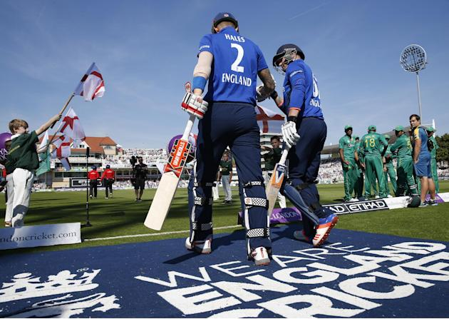 England's Alex Hales and Jason Roy come out to bat