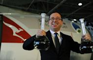 Qantas chief executive Alan Joyce poses during a press conference at Sydney Airport ahead of Australia's first flight powered by sustainable aviation fuel on April 13, 2012