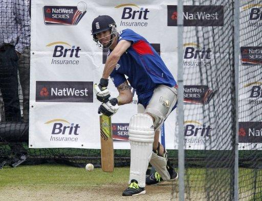England's Kevin Pietersen batting in the nets at Lords before the first ODI against New Zealand on May 31, 2013