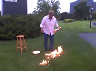 General mills protest goes wrong when flaming cheerios box sets lawn on fire daily buzz - General mills head office ...