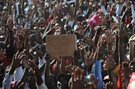 A placard at a political rally in Nairobi. Kenya is less than three weeks from a presidential election, the first since polls five years ago erupted into bloody ethnic violence that left more than 1,100 people dead and hundreds of thousand displaced