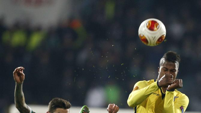 Marcelinho of Ludogorets fights for the ball with Balde of Lazio during their Europa League soccer match in Sofia