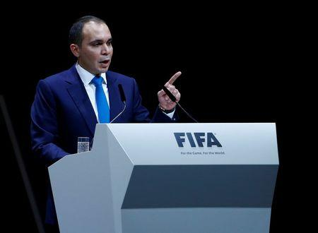 Prince Ali Bin Al Hussein candidate for the new president for FIFA makes a speech during the Extraordinary FIFA Congress in Zurich