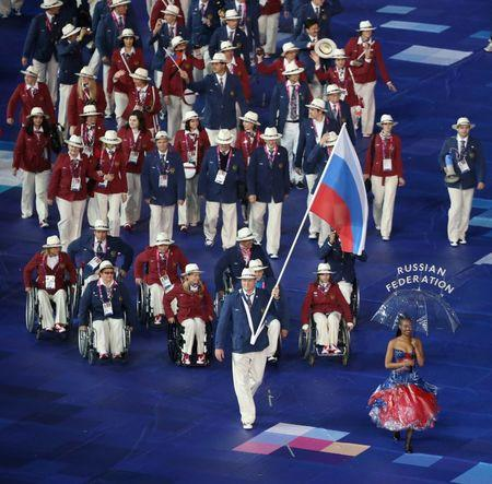 Russian athletes participate in the opening ceremony of the London 2012 Paralympic Games in the Olympic Stadium