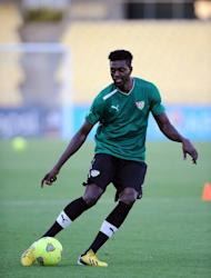 Togo forward Emmanuel Adebayor during a team training session in Rustenburg on January 21, 2013. Adebayor finally decided to join up with his compatriots following a little arm-twisting from the tiny west African nation's president