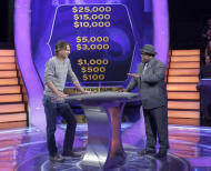 "This Aug. 16, 2013, photo provided by Disney-ABC Domestic TV shows Associated Press writer Frazier Moore, left, with host Cedric ""The Entertainer,"" during a test show of the game show ""Who Wants To Be A Millionaire"" in New York. On Sept. 2, the new season premieres, ushering in Cedric ""The Entertainer"" as host. (AP Photo/ Disney-ABC Domestic Television, Heidi Gutman)"