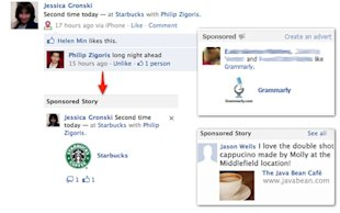 Using Facebook Gives You No Privacy, Not Really image sponsored stories starbucks