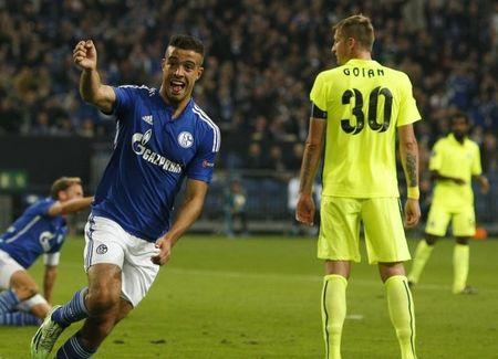 Schalke 04's Di Santo celebrates after he scored a goal against Asteras Tripolis during their Europa League group K soccer match in Gelsenkirchen