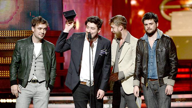 The 55th Annual GRAMMY Awards - Show: Ben Lovett, Marcus Mumford, Ted Dwane and Winston Marshall of Mumford & Sons