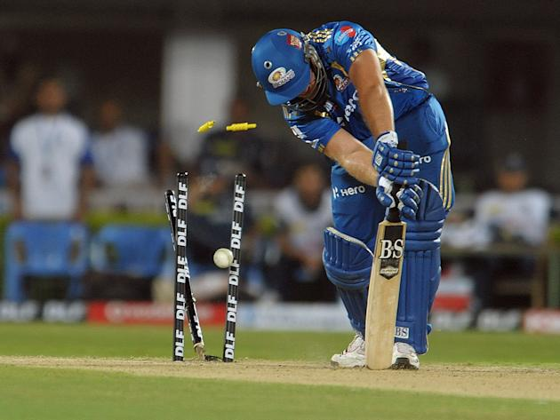 Mumbai Indians  Richard Levi is bowld by Deccan Chargers  Dale Steyn during the IPL Twenty20  match  at Dr. Y.S. Rajasekhara Reddy Cricket Stadium in Visakhapatnam on April 9, 2012.AFP PHOTO / Noah SE