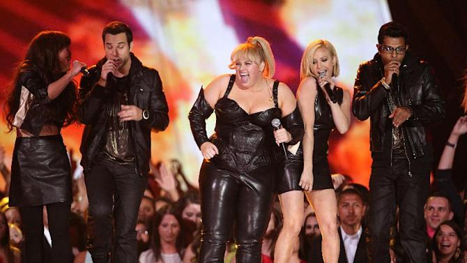 """Host Rebel Wilson and the cast of """"Pitch Perfect"""" perform onstage at the MTV Movie Awards in Sony Pictures Studio Lot in Culver City, Calif., on Sunday April 14, 2013. (Photo by Matt Sayles/Invision /AP)"""
