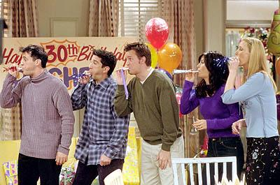 "Matt LeBlanc, David Schwimmer, Matthew Perry, Courteney Cox and Lisa Kudrow in ""The One With Where They All Turn 30"" in NBC's Friends"