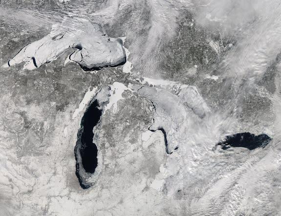 The Moderate Resolution Imaging Spectroradiometer (MODIS) on NASA's Aqua satellite captured this image on Feb. 19, 2014.