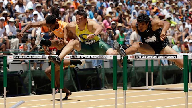 Athletics - Collegian Allen shocks world class US hurdles field
