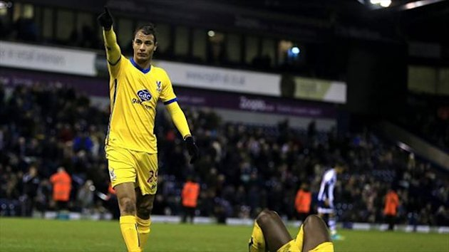 Marouane Chamakh celebrates scoring the second goal