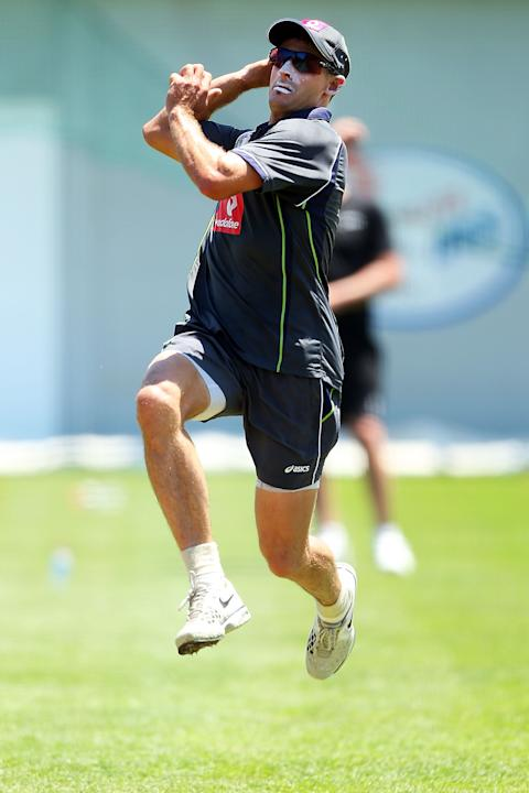 SYDNEY, AUSTRALIA - JANUARY 01:  Michael Hussey of Australia bowls during an Australian nets session at Sydney Cricket Ground on January 1, 2013 in Sydney, Australia.  (Photo by Brendon Thorne/Getty I