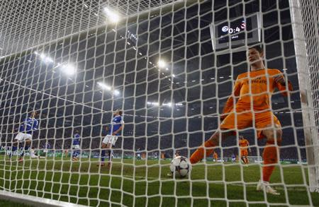 Real Madrid's Ronaldo kicks the ball during their Champions League soccer match against Schalke 04 in Gelsenkirchen