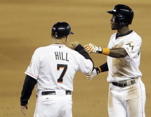 Miami Marlins first-base coach Perry Hill. (AP Photo)