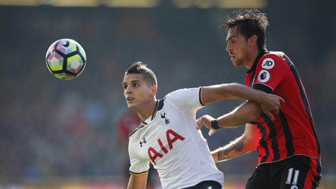 Tottenham's Erik Lamela in action with Bournemouth's Charlie Daniels