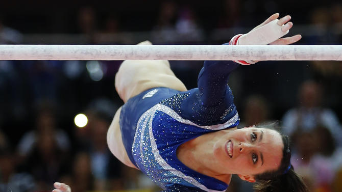 Elizabeth Tweddle of Britain competes in the women's gymnastics asymmetric bars final in the North Greenwich Arena during the London 2012 Olympic Games