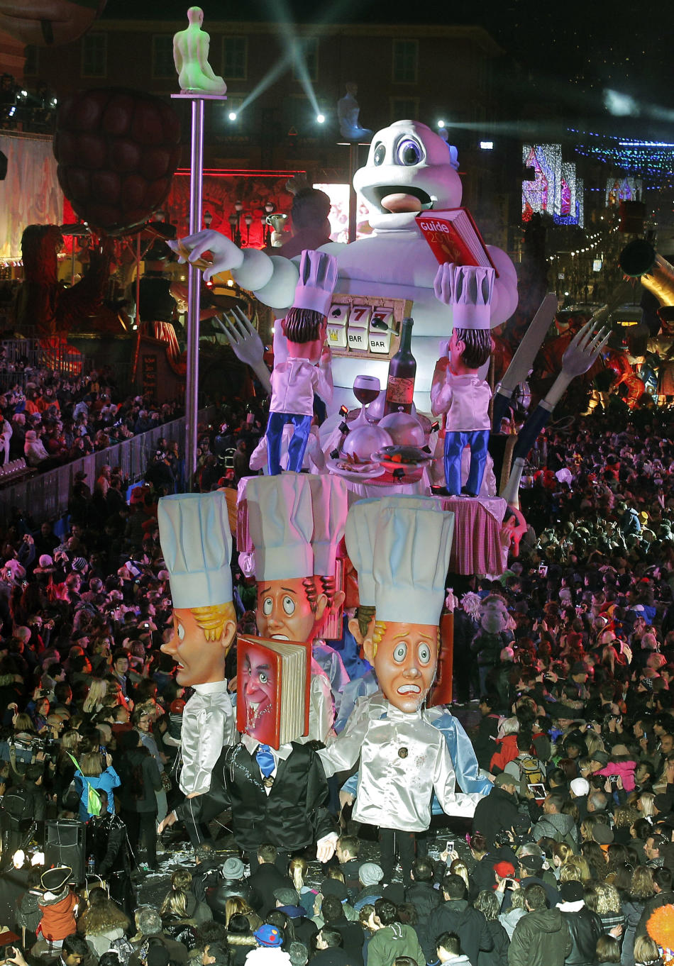 "A float depicting Bibendum of Michelin, parades during the 130th edition of the Nice Carnival, Saturday, Feb.15, 2014, in Nice, southeastern France.The carnival this year, celebrates the theme ""K"
