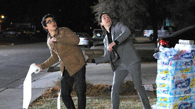 "This film image released by Anchor Bay Films shows Max Minghella, left, and Justin Long in a scene from ""10 Years."" (AP Photo/Anchor Bay Films, Colleen Hayes)"
