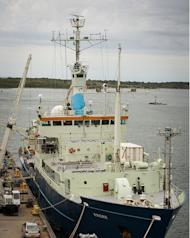 The Woods Hole Oceanographic Institution's research vessel Knorr docked before its scheduled departure on Sept. 6 to study salinity in the mid-Atlantic ocean.