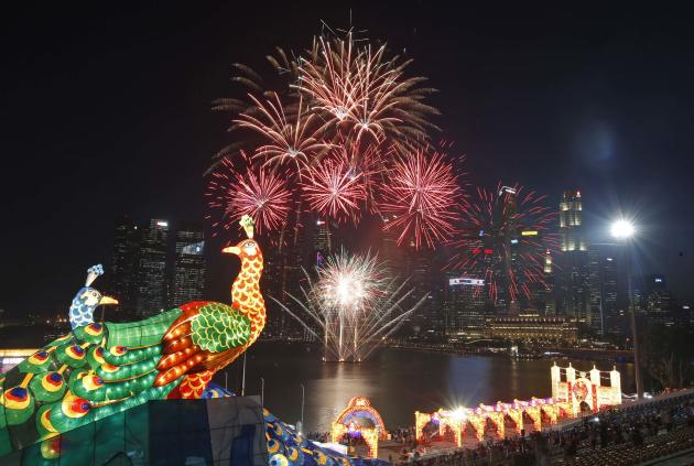 Fireworks explode at the River Hongbao Lunar New Year Celebrations.